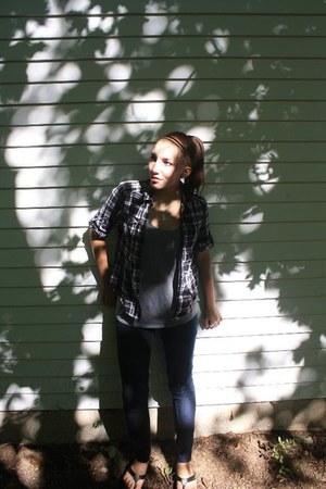 dark jeans - gray lola shirt - PacSun shirt