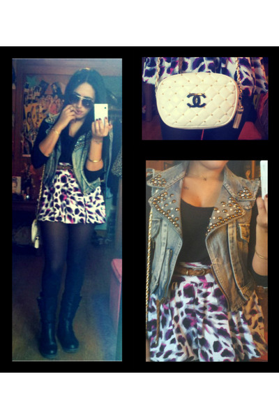 purple unknown skirt - white chanel inspired A&W purse