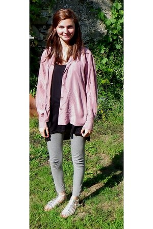 H&M leggings - silk vintage blouse - H&M t-shirt