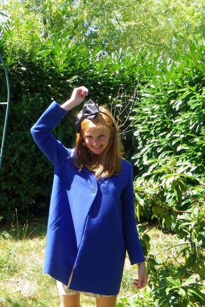 blue Maje coat - black Sonia Rykiel for H&M hat