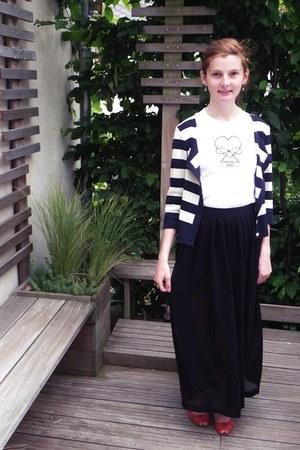 white t-shirt - navy les flibustiers blazer - black asos skirt