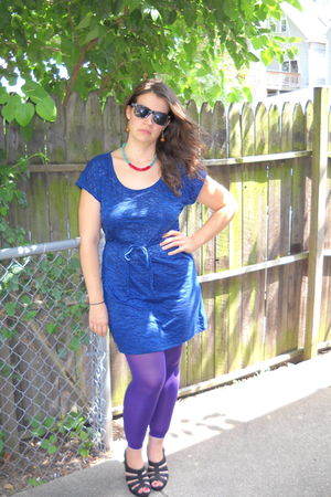 blue Forever21 dress - purple Target tights - black payless shoes