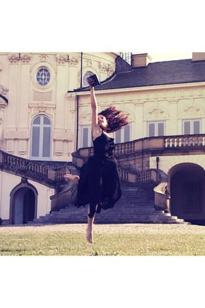 black vintage shirt - black sheer skirt vintage skirt - polaroid vintage accesso
