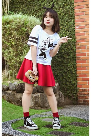 black Forever 21 hair accessory - ruby red socks - white top - red skirt