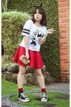 black Forever 21 hair accessory - ruby red socks - white top - red skirt