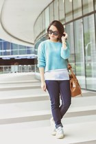 white Adidas sneakers - navy jeans - aquamarine mint sweater Forever 21 sweater
