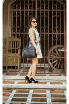 black bag - white dress - black Forever 21 sunglasses - black heels