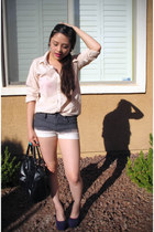charcoal gray ombre dknstrkt shorts - light pink button up H&M shirt