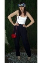 vintage pants - Urban Outfitters scarf - forever 21 purse - Nine West shoes