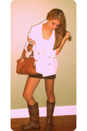 beige Burberry shoes - white coat - beige free people shirt - brown Michael Kors