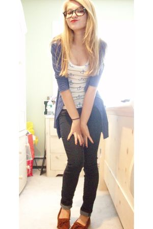 white delias shirt - blue cardigan - blue jeans - brown Mossimo shoes