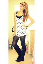 black tights - white Forever 21 dress