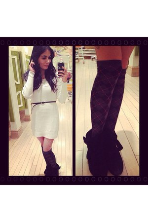 black bow booties Forever 21 shoes - eggshell knit sweater Forever 21 dress