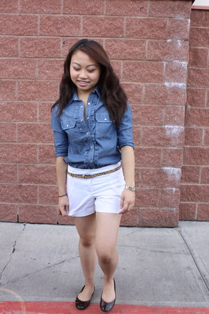 blue Bayo blouse - white Rickis shorts - brown Forever 21 belt - brown Steve Mad