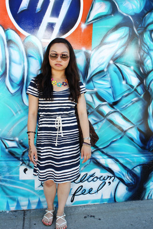 blue H&M dress - eggshell Aldo sandals - Forever 21 necklace