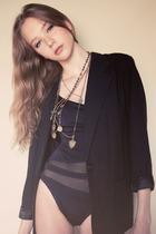 vintage blazer - vintage swimwear - vintage necklace