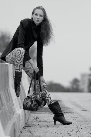 Mizzae jacket - Dillards leggings - Dillards boots - Betsey Johnson purse