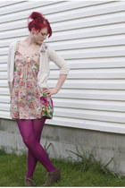 Betsey Johnson tights - c-o Blowfish Shoes boots - H&M dress - Old Navy cardigan