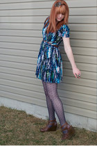 multicolored Forever 21 dress - Target tights - Target wedges - Charlotte Russe