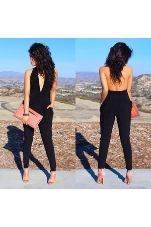 black jumper - light pink heels - pink The Look for Less wallet