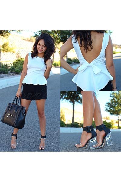 Black High Waisted Shorts, White Peplum Blouses, Black Clear Heel ...