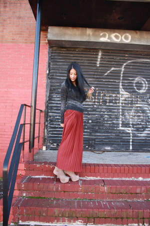 maxi Forever 21 skirt - taupe Jeffrey Campbell shoes - knitted H&M sweater