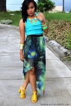galaxy printed Primadonna skirt - aquamarine 5th High Fashion Street top