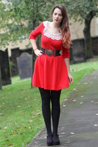 red Dorothy Perkins dress - black M&S tights - black Primark belt