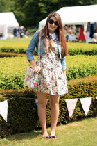 eggshell floral vintage dress - violet denim Matalan jacket