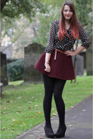black polka dot Primark blouse - black woollen OLD tights - tawny Primark belt