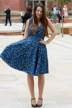 navy French Connection dress - black charity shop heels