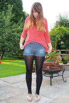 eggshell brogues new look shoes - navy polka dot Matalan shorts