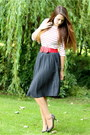 Red-accessorize-belt-black-outlet-store-shoes-black-polka-dot-vintage-skirt