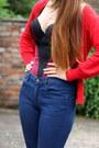 Navy-topshop-jeans-maroon-vedette-bodysuit-red-new-look-cardigan