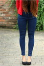 Navy-topshop-jeans-maroon-vedette-bodysuit-red-new-look-cardigan