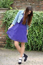 navy polka dot Matalan dress - blue denim Matalan jacket - white Topshop socks
