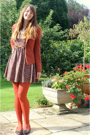bronze Zara dress - dark brown Topshop shoes - burnt orange Forever 21 jacket