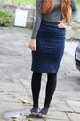 Navy-pencil-primark-skirt-heather-gray-roll-neck-zara-jumper
