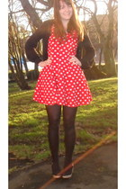 red vintage dress - black Primark tights - black new look cardigan - dark gray n