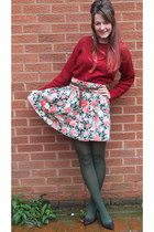 brick red Motel Rocks jumper - army green Primark tights - dark brown Zara belt