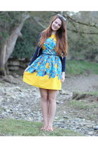 yellow Primark dress - aquamarine Primark sunglasses - navy Zara cardigan