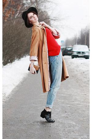black hat hat - black hm boots - orange vintage coat - sky blue Wrangler jeans