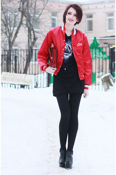 red no name jacket - black hm dress