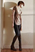 gray a ok top - blue VPL leggings - black Cheap Monday leggings - brown MMM boot