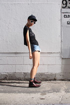 navy made in korea hat - crimson CHURCHS boots - blue 7 for all mankind shorts