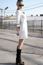 dark brown maison martin margiela boots - white rag & bone dress - black By Male
