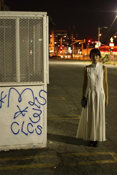 white Antipodium dress - black Carin Wester x ADAX bag