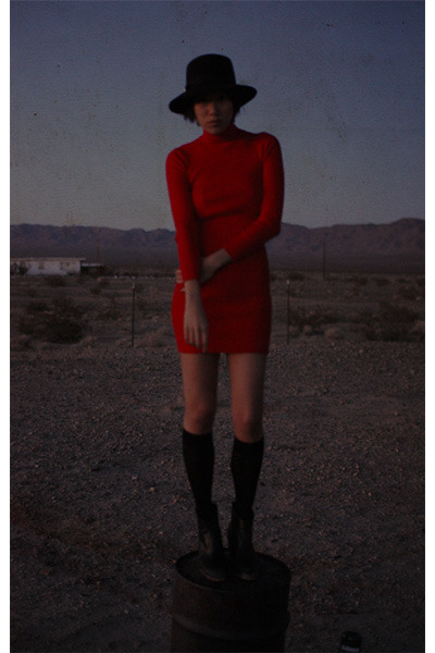 red Rehab dress - black Rachel Comey boots - black untitled hat