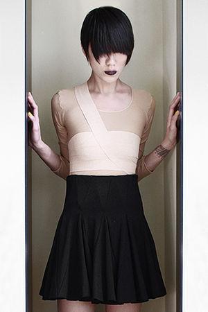beige diy skeletor suit top - equaline bra - black Elizabeth & James skirt - bla