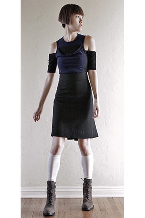 ann demeulemeester boots - LAMB skirt - asos bodysuit - falke accessories